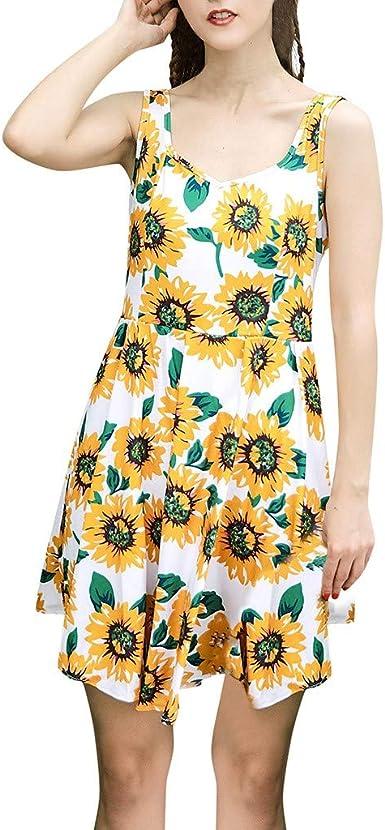 Proumy Vestido de Verano Mujer Estampado de Girasol Amarllo ...