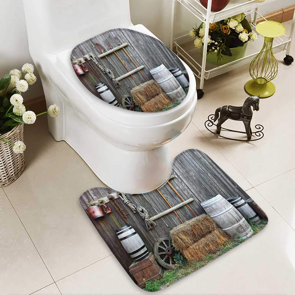 HuaWuhome Carpet Floor mat Agriculture Western Wooden Barn Countryside Bucolic Rural House FolkVintage Scenery Grey Light Non-Slip Soft Absorbent Bath Rug