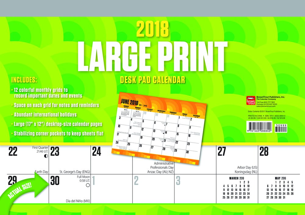 Download Large Print 2018 17 x 12 Inch Monthly Desk Pad Calendar, Easy to See with Large Font ebook