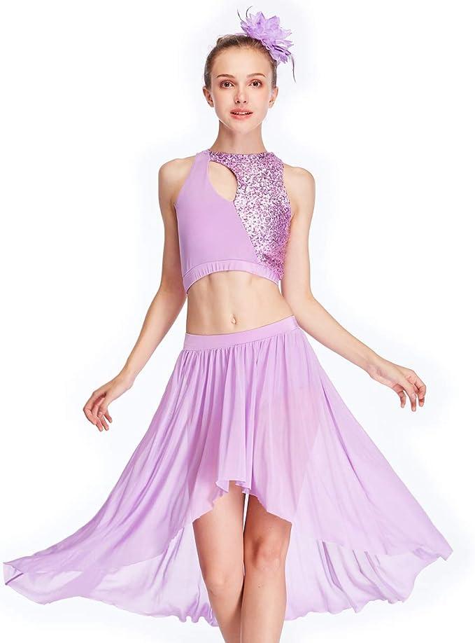 MiDee Girl Lyrical Latin Dance Costume Glitter Knee-Length Dress