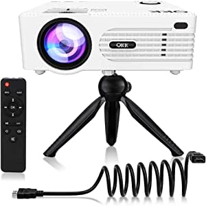 """QKK [2019 Upgrade] Mini Projector [with Tripod] LED Projector Full HD 1080P Supported, 170"""" Display for TV Stick, PS4, Xbox, Blue Ray DVD Player, Smartphone Home Theater Entertainment, Dual USB Port"""