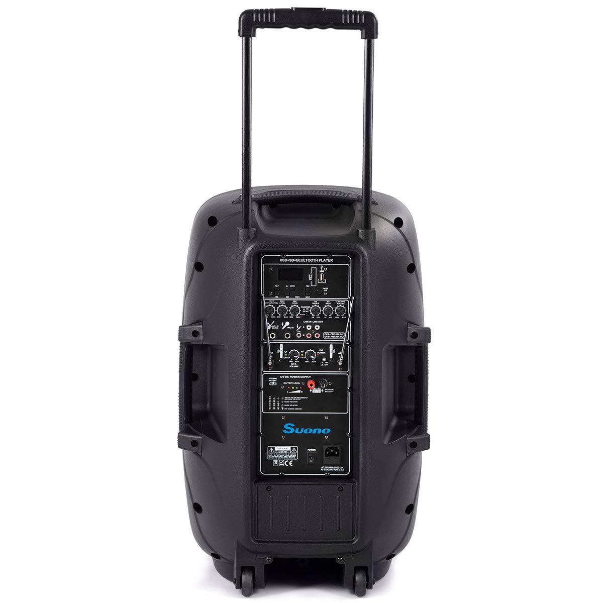 Suono Powered Speakers, 2-Way Full Range Portable DJ/PA Speaker System Set With Microphones/USB/Bluetooth (15'' 1000W) by Suono (Image #3)