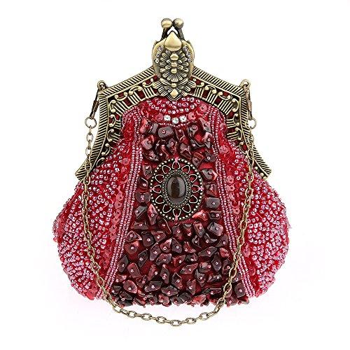 Sac KAXIDY Soiree a Sacoches Sac Rouge à Noir Mariée Paillette de Main Pochette Perlée Main Satin Femmes BpXvqrpw