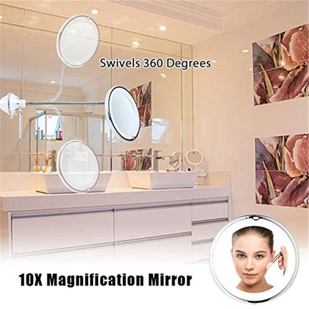 Espejo de Tocador para Ba/ño con Ventosa Fuerte y Cuello de Cisne Flexible Espejo de Maquillaje LED con Aumento de 5X Rotaci/ón de 360 /°