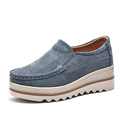 aae0fa8e5e4ab SUNROLAN Women's Platform Slip On Loafers Sneakers Suede Moccasins Wide Low  Top Wedge Casual Shoes Grey