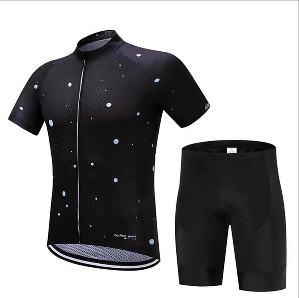 003-XL  QIXCST Homme Maillot de Cyclisme Manches Courtes avec Cuissard à Bretelles - courtes rembourrés de vélo Ventilation Transpiration VêteHommests de Cyclisme d'équipe