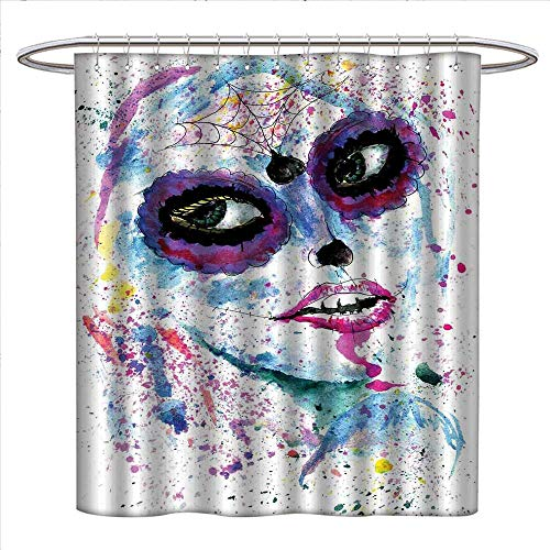 BarronTextile Girls Shower Curtains Fabric Grunge Halloween Lady with Sugar Skull Make Up Creepy Dead Face Gothic Woman Artsy Bathroom Decor Set with Hooks W48 x L84 Blue Purple ()