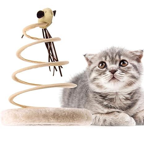 Pawaca Juguetes gatos activos, ratón de muelle en espiral, divertidos juguetes interactivos para gatos