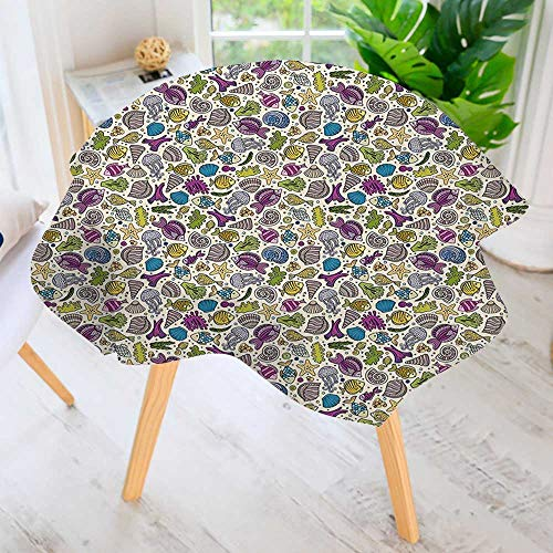 "aolankaili Hand Screen Printed Tablecloth- Undersea Creatures Shells Tube Moss Circles Modern Printed Spill Proof Cloth Round Tablecloths 55"" Round"