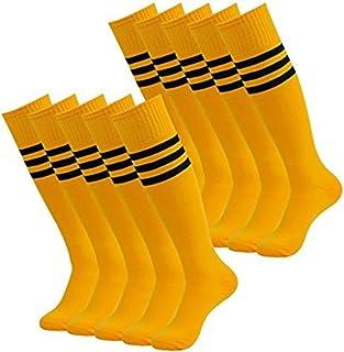 Dosige 10 Paio Sports Socks Uomo Donna Bambini Calze da Calcio Outdoor Running Calze da Calcio Calzini Traspiranti Long-Barrelled Stripes Calzino Size Taglia Unica (Blu + Striscia Bianca)