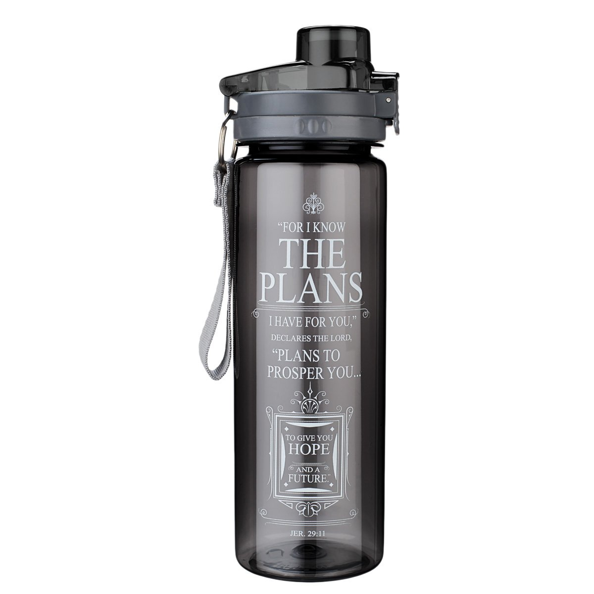 'I Know the Plans' Black Plastic Water Bottle - Jeremiah 29:11