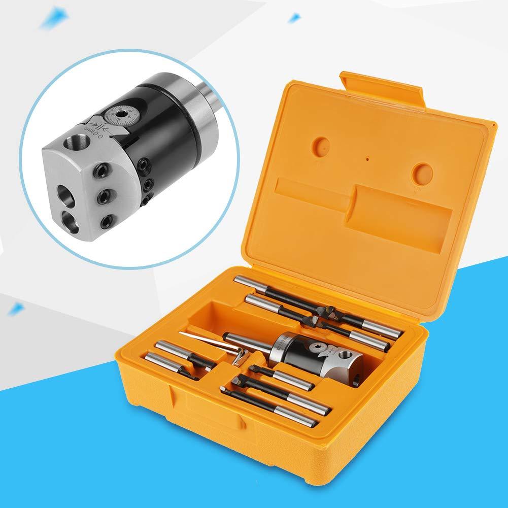MT2-M10 F1-12 Boring Head 50mm Boring Bar CNC Milling Tools Set Kit Carbide Boring Head Tool Set Machine Accessories w//Carry Case