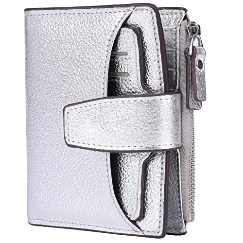 Leather Bi Silver Small Blocking Wallet With Case Ainimoer Zipper Women's Pocket Lichee Compact fold Window Id Card Purse Rfid UfwqWtYWC