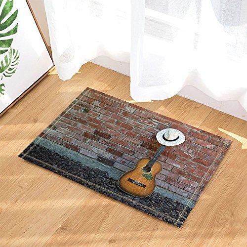 GoHeBe Western Cowboy Music Guitar Decor Panama Hat on Guitar Leaning Against Brick Wall Bath Rugs Non-Slip Doormat Floor Entryways Indoor Front Door Mat Kids Bath Mat 15.7x23.6in Panama Runner