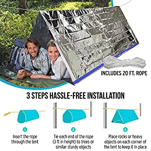 """TEBRION Emergency 2-Adult Mylar Thermal Tent and 2 x Extra Large 63""""x82"""" Mylar Blankets Set"""