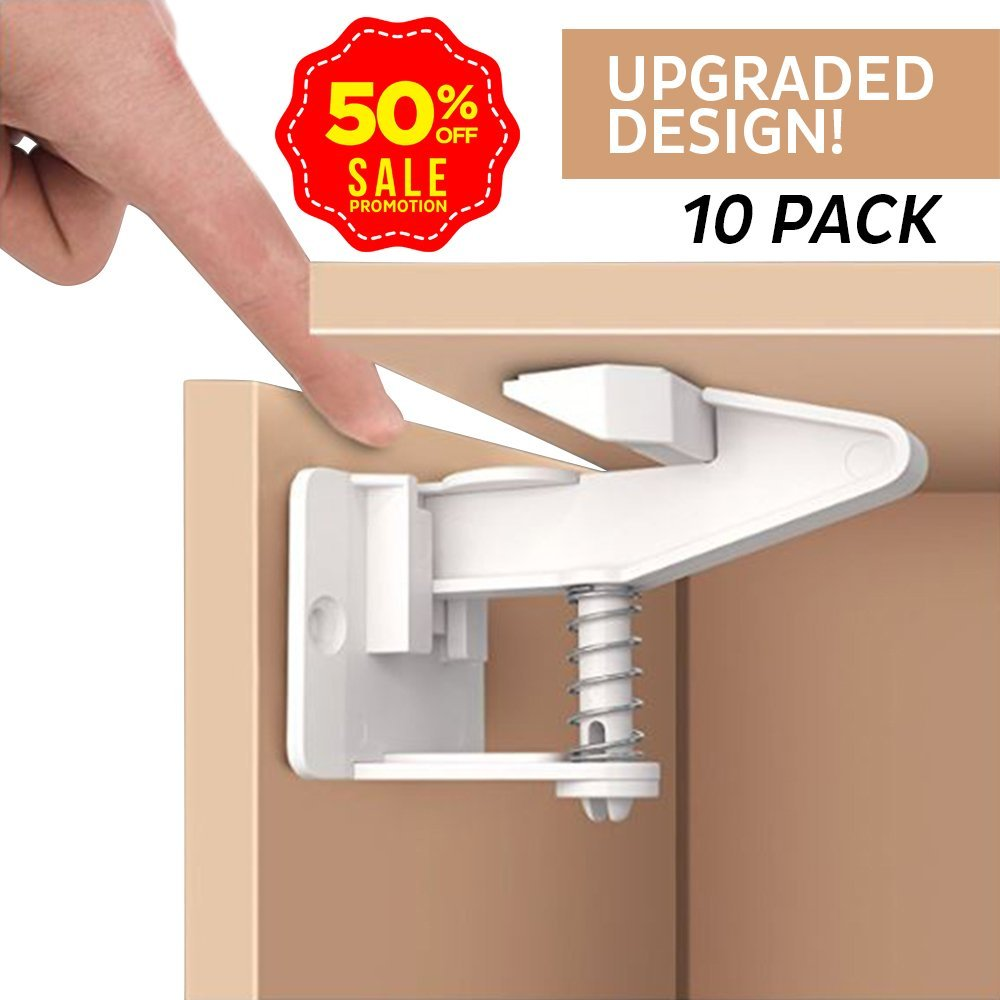 American Baby Central Baby Proofing Child Safety Cabinet Locks; Universal, Safe, Simple Child Proofing Cabinets, Drawers, Dresser, Cupboard Doors and House with Ease Tool-Free Installation