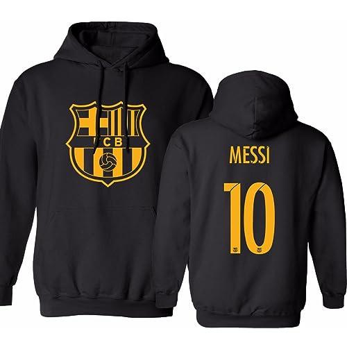 KING THREADS Barcelona Soccer Shirt Lionel Messi #10 Futbol Jersey Mens Hooded Sweatshirt