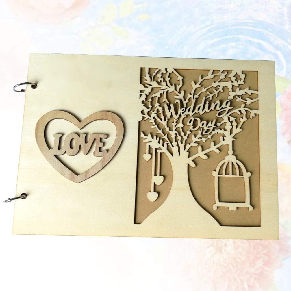 Healifty Mariage Livre dor Romantique invit/é Signe dans Le Livre en Bois Album Photo Creux Album Souvenir Souvenir Signe dans Le Livre Cadeau Message Livre pour Mariage
