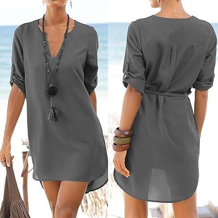 Vestido de mujer, Ba Zha Hei de Vestido irregular de playa con dobladillo irregular con bolsillo en forma de V de cuello en V para mujer camisetas mujer ...