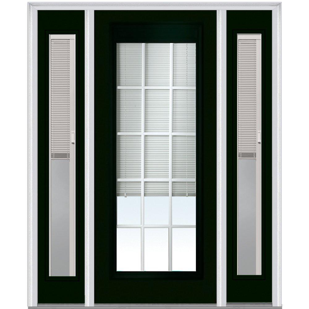 National Door Company ZA04666L Steel, Hunter Green, Left Hand In-swing, Prehung Door, Full Lite, with RLB and GBG, 36'' x 80'' with 14'' Sidelites
