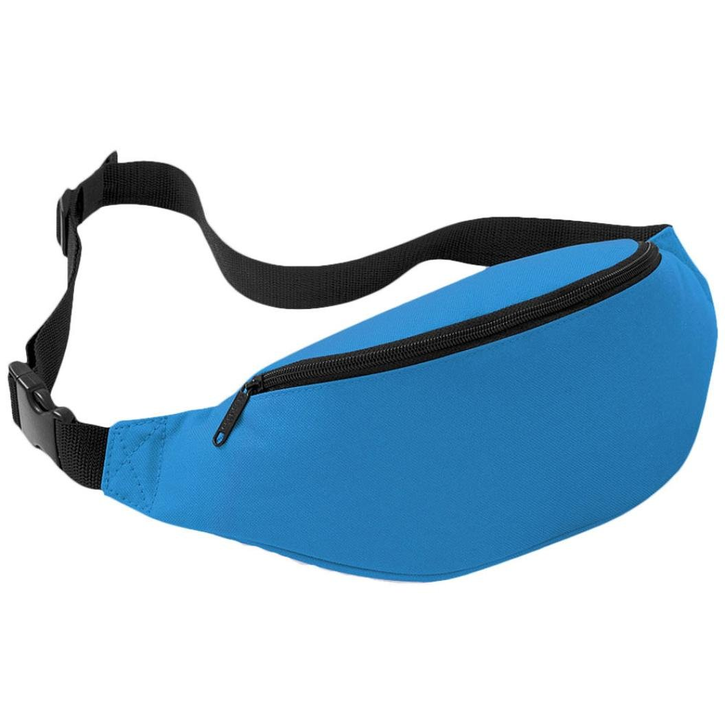 Perman Unisex Outdoor Sports Running Oxford Solid Color Stylish Waist Pack Bag 2L (Blue)
