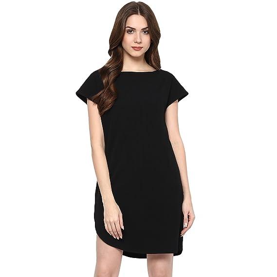 ade5566c58e veronique Women s Plain Black Polyester Cut Sleeve Knee Length Regular Fit  Knit A Line Dress A