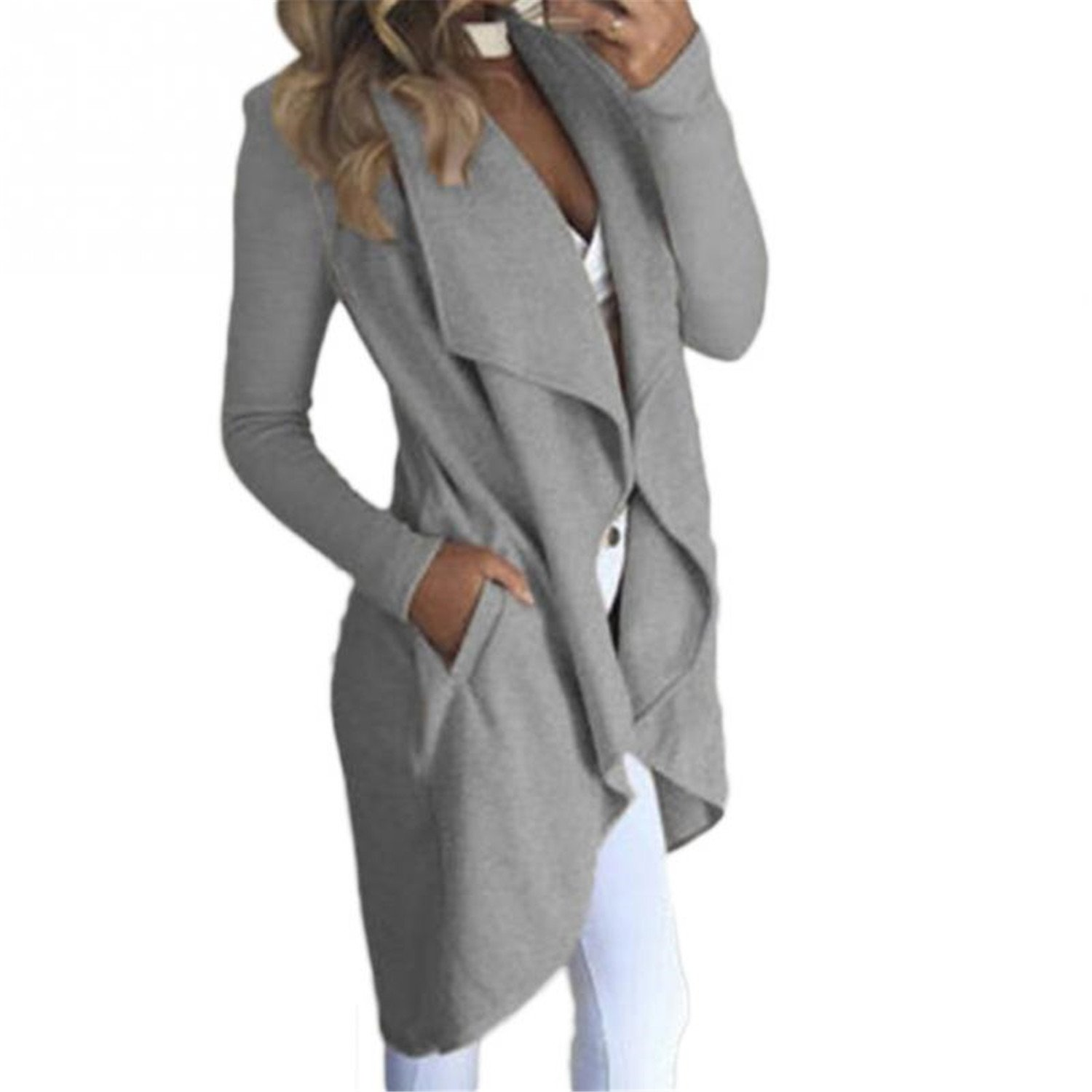 MRxcff Autumn Women's Cotton Trench Coat Casual Long Outerwear Loose Lady