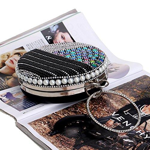 KYS Purse Evening Pearl Clutches Bag Chain Wedding Handbags Beading Diamonds Bags Women Black Shoulder Dress RrPRqSx