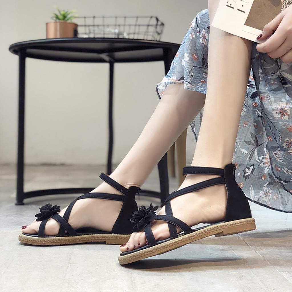 TM Women Casual Flats Sandals Ladies Summer Fashion Ankle Strap Zip Flower Bohemia Elastic Sliders Shoes Hot! GoodLock