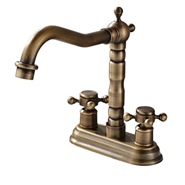 Rozin 4-inch Centre Hole Bathroom Sink Faucet 2 Knobs Basin Mixer Tap Antique Brass