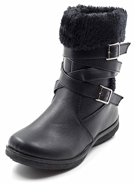 14f489def5b75 Simply Petals Girls Cute Olivia Fur Trimmed Mid Calf Boot with Buckles (Little  Girl