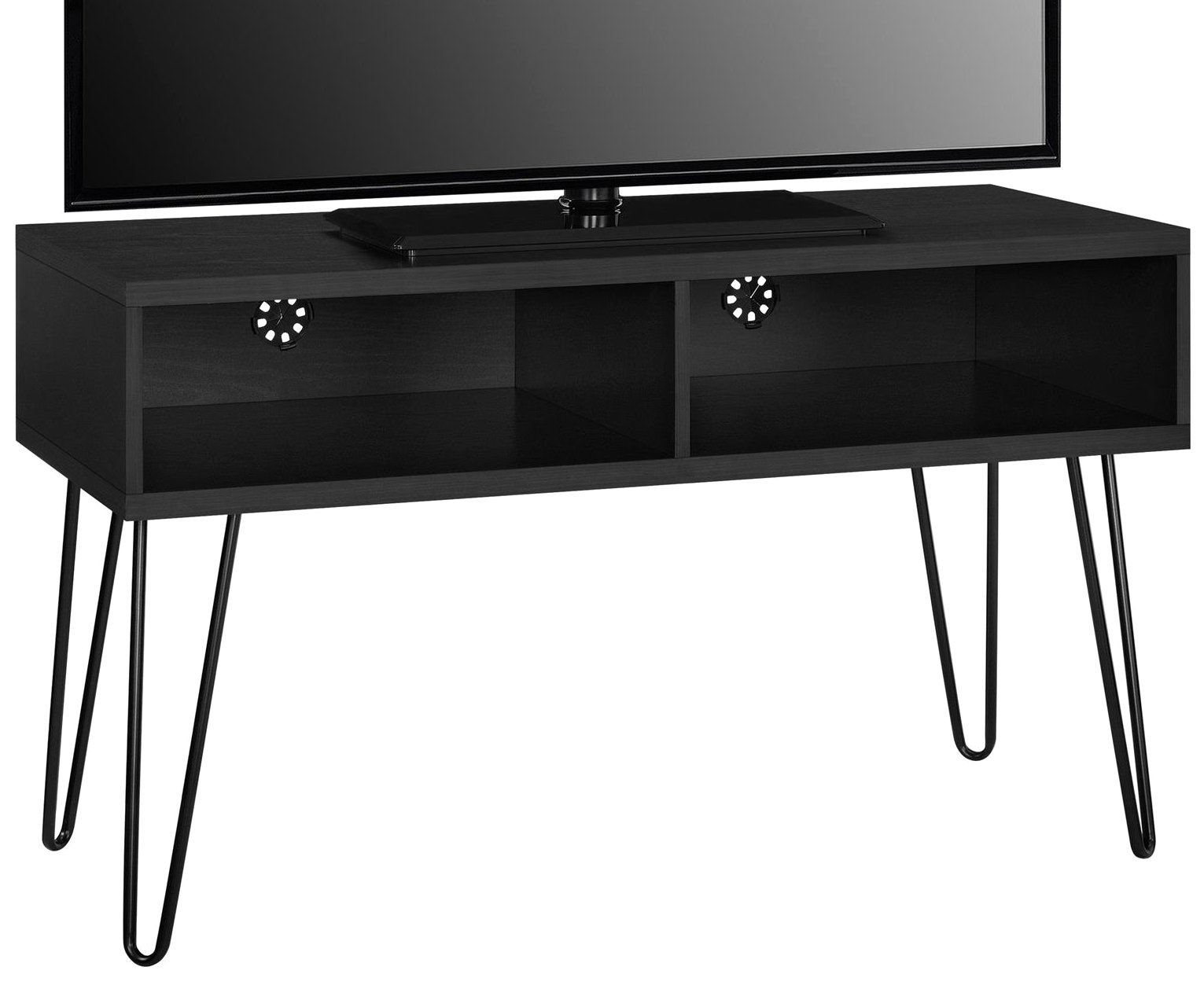Ameriwood Home 1748296COM Owen Collection Retro TV Stand, Black Oak