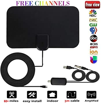Antena TV Interior, [Nueva versión 2019] Antena Interior TDT 60 Millas con Amplificador de Señal y Cable Coaxial de 13.2 FT, Digital HDTV Antena ...