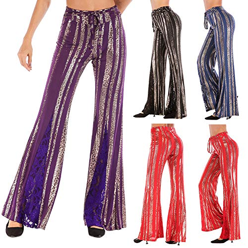 Pcongreat 2019 New Nightclub High Waist Wide Leg Pants Women Metallic Stripe Leopard Long Trousers