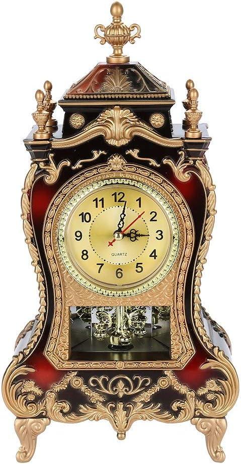 Reloj antiguo, reloj de escritorio de mesa de estilo europeo del vintage, reloj de pared con péndulo y carillones para la decoración del hogar(02)