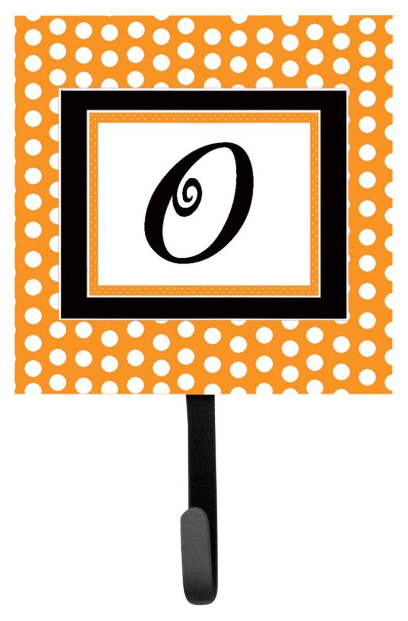 7Hx4.25W Multicolor Carolines Treasures CJ1033-OSH4 Letter O Initial Monogram Orange Polkadots Leash Holder or Key Hook