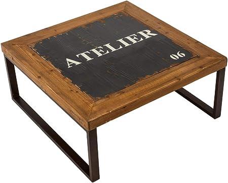 Pureday Table Basse Carree Style Loft Industriel Bois Metal