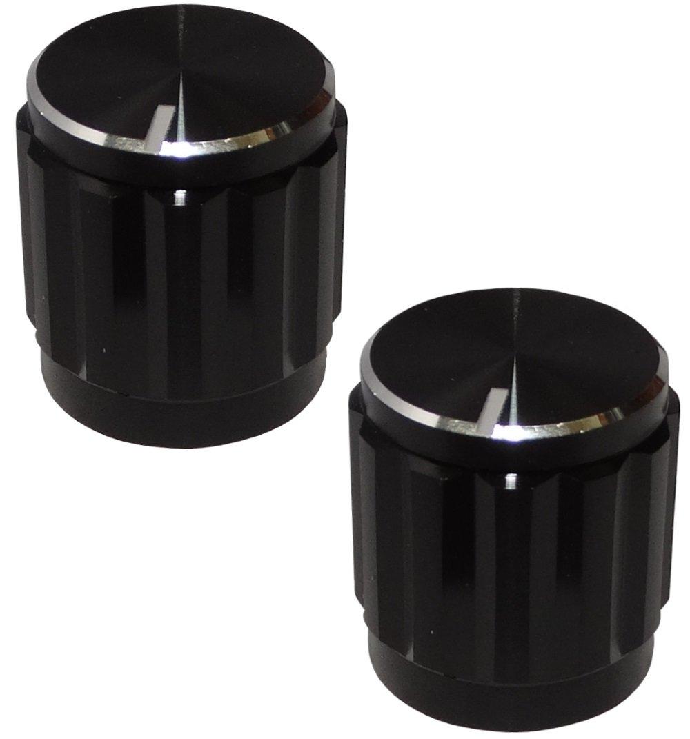 AERZETIX 2X Bot/ón para potenci/ómetro para Eje moleteada 6mm /Ø15x16mm de Aluminio y plastomero Color Negro C12579