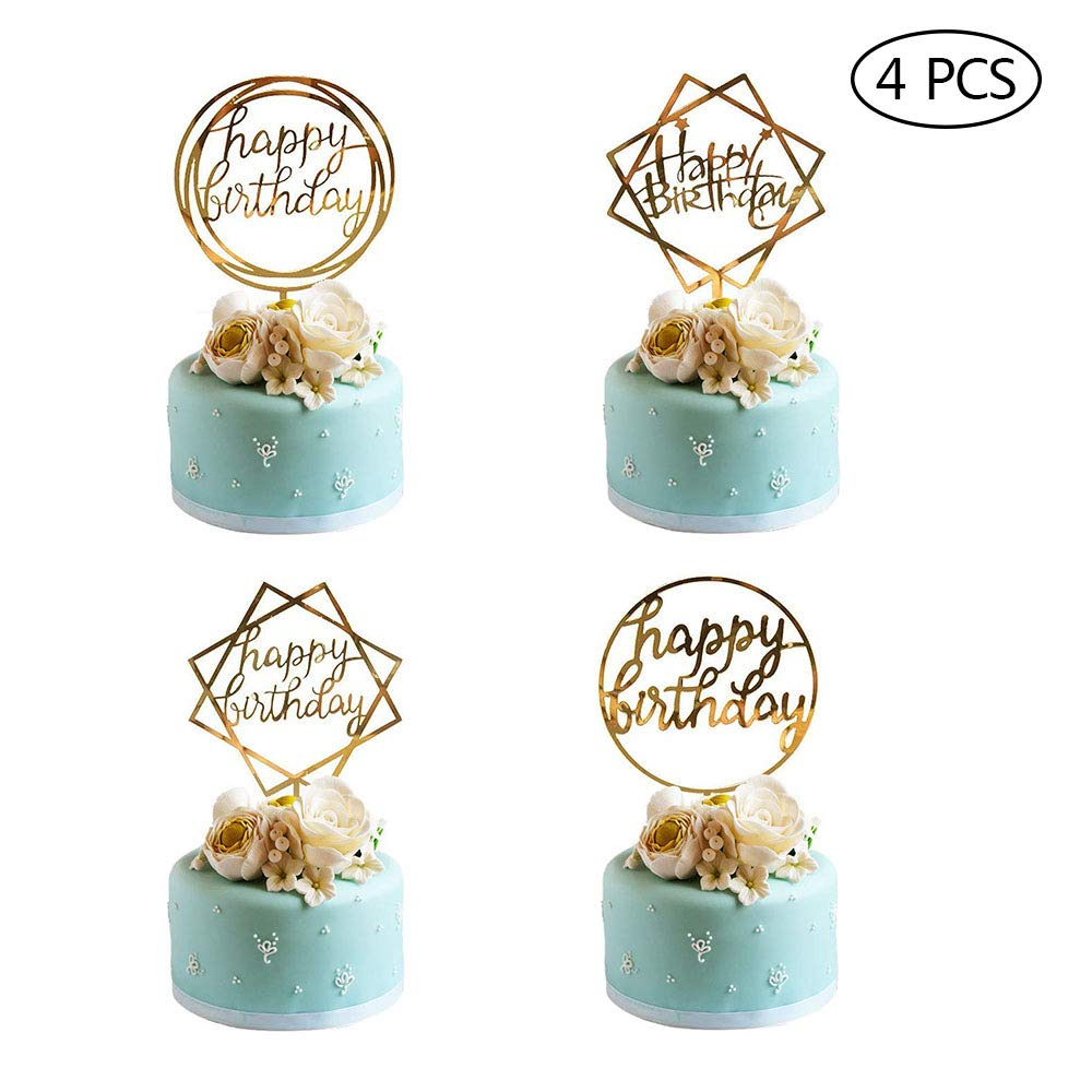 Happy Birthday Cake Topper Acrylic Cupcake Topper A Series of Birthday Cake Supplies Decorations 4PCS