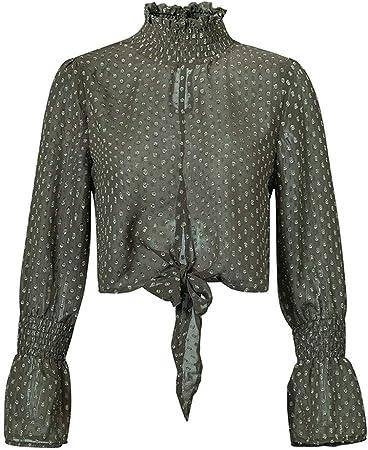 Lijincheng Camisa Mujer Otoño Invierno Blusa de Mujer Camisa Transparente Blusa de Gasa de Manga Larga Blanco Negro con Cordones Top Corto Sexy (Color : Dark Green, Size : M): Amazon.es: Hogar