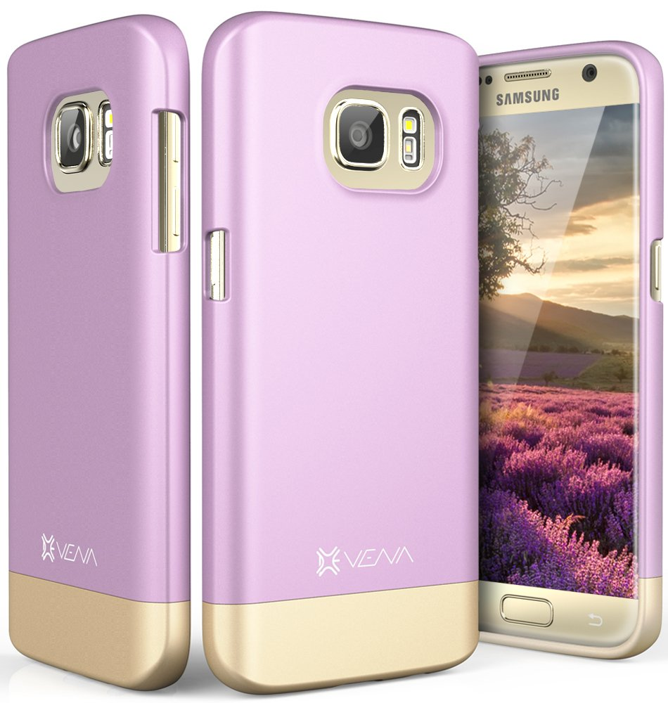 Galaxy S7 Case, Vena [iSlide][Two-Tone] Dock-Friendly Slim Fit Hard Case Cover for Samsung Galaxy S7 (Lavender/Champagne Gold)