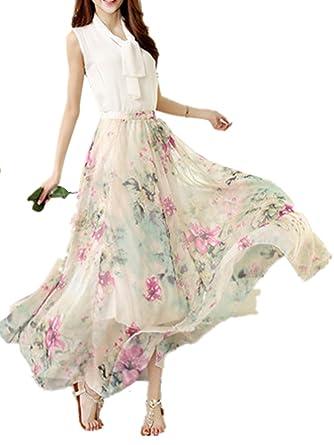 KINDOYO Verano Falda para Mujeres - Moda Cintura Alta Boho Skirt ...
