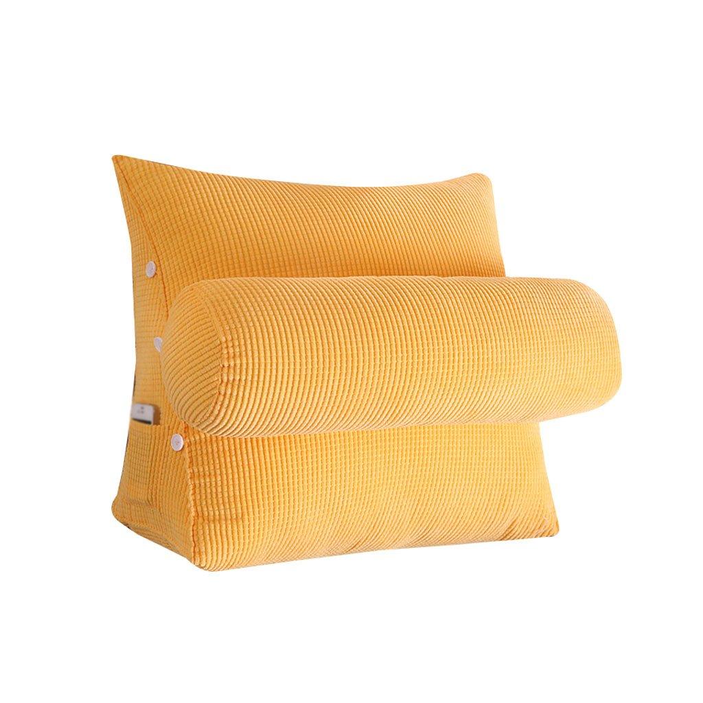 HN Bed pillows Bed Triangle Pillow With Headrest Sofa Bed Headrest Lumbar Pillow Backrest Waist Pads Office Pillow Bay Window Cushion Back (Color : Yellow, Size : 45cm22cm40cm)