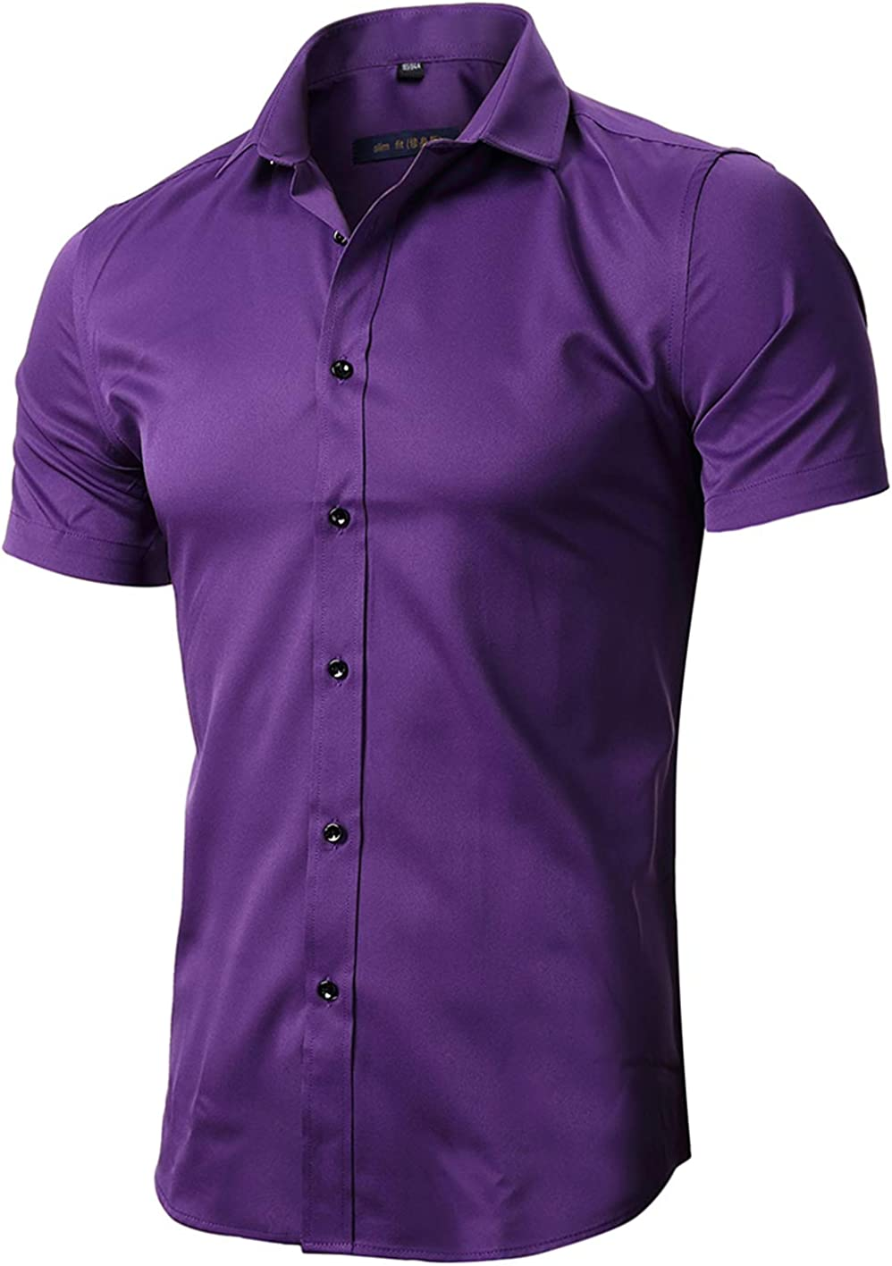 FLY HAWK Mens Dress Shirts Fitted Bamboo Fiber Short Sleeve Elastic Casual Button Down Shirts