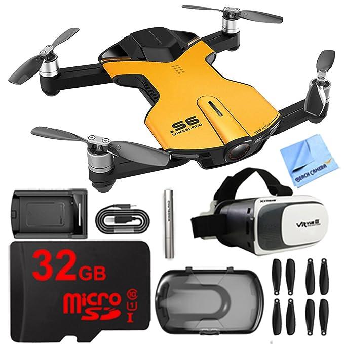 wingsland S6 Quadcopter amarillo Mini bolsillo Drone 4 K Cámara 32 ...