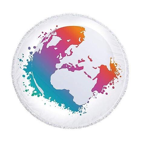 XIAOBAOZISTJ Toalla De Playa Redonda Tapiz Mapa del Mundo ...