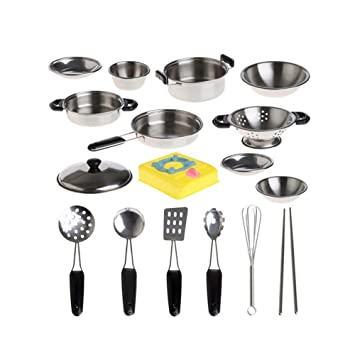 Mini Juguete de simulacion ollas de acero inoxidable sartenes para utensilios de cocina,juguete en miniatura juego de regalo para niños-20pcs: Amazon.es: ...