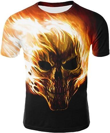 Camiseta para Hombre, Camisa de Manga Corta de la Camiseta de la Manga de la Camiseta de la impresión del cráneo 3D para Hombre: Amazon.es: Ropa y accesorios