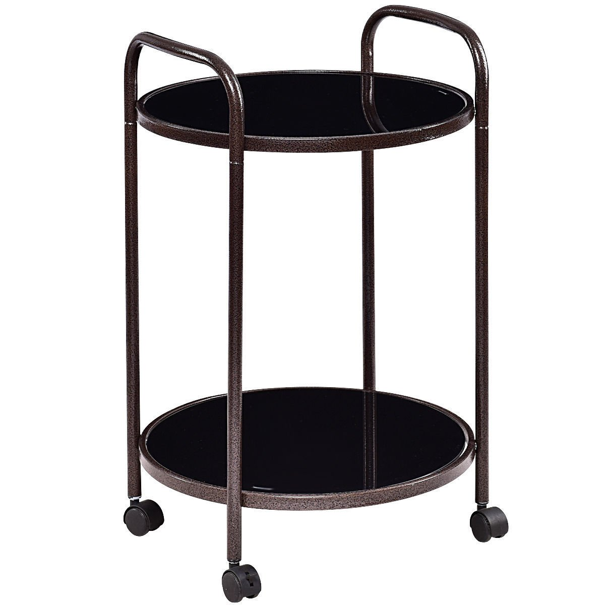 Moon_Daughter Spherical Portable Round Rolling Kitchen Food Trolley Serving Cart Tray Bar Drink Table Compact Design