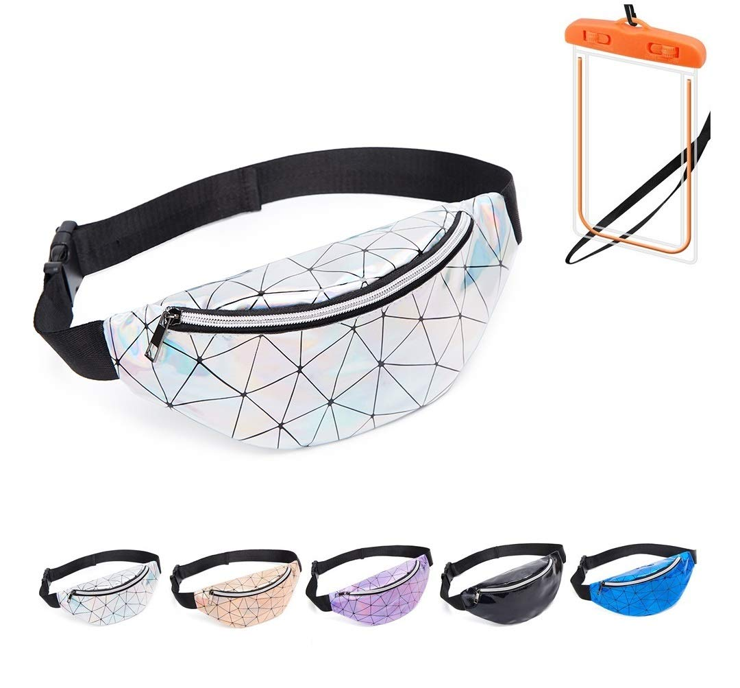 Fanovo Holographic Fanny Pack for Women, Cool Fanny Pack, Waist Bag with Adjustable Belt + Waterproof Phone Pouch, for Festival Party Travel Rave. (H-2# Silver)
